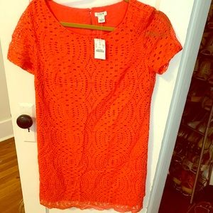 NWT JCrew Coral lace dress w scalloped hem
